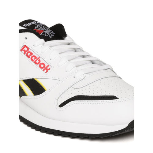 Reebok Classic Unisex White & Black Classic Leather Perforated Ripple Sneakers