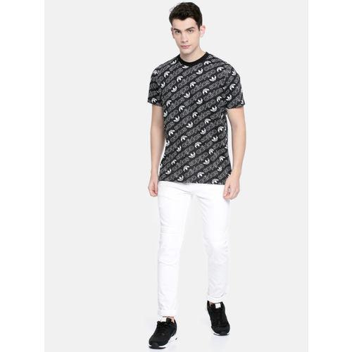 ADIDAS Originals Men Black & White Printed MONOGRAM Round Neck T-shirt