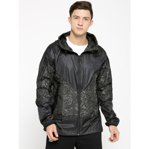 ADIDAS Originals Men Black & Grey Windbreaker AOP KARKAJ Sporty Jacket
