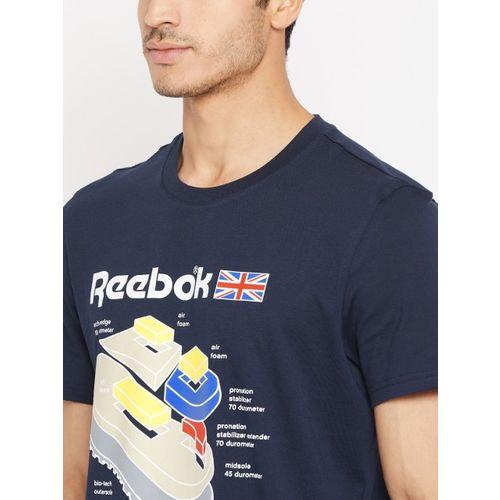 Reebok Classics Men Navy Blue Callout Graphic Print T-shirt