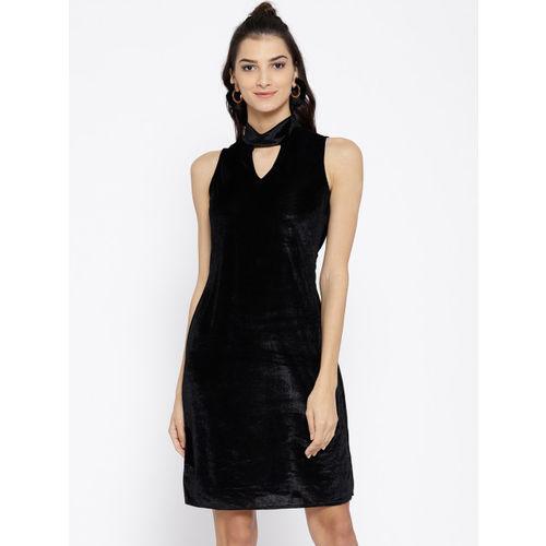 Athena Women Black Solid Velvet Finish Sheath Dress