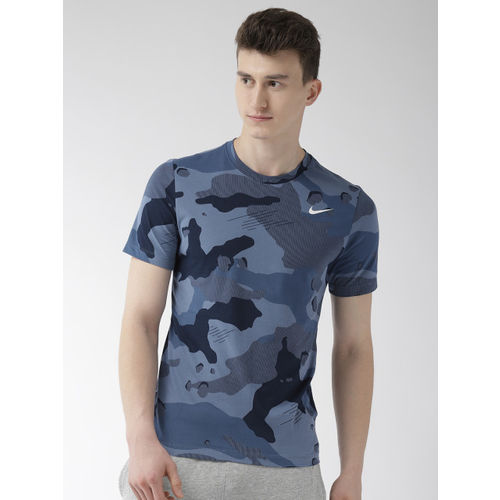 Nike Men Blue Printed Standard Fit CAMO AOP Dri-FIT Round Neck Training T-shirt