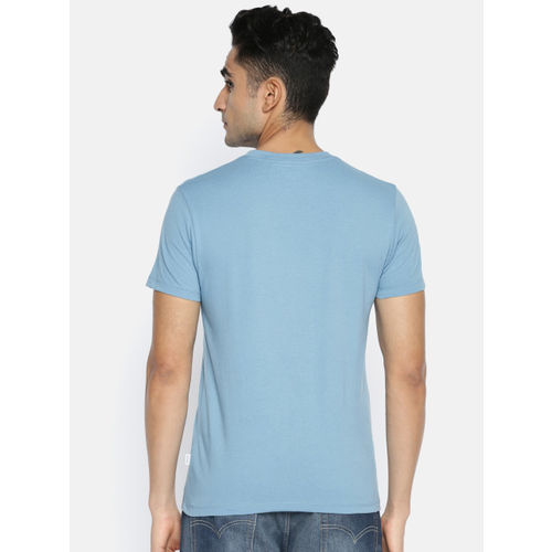 Jack & Jones Men Blue Printed Slim Fit Round Neck T-shirt