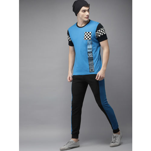 Moda Rapido Men Blue & Black Printed Round Neck T-shirt