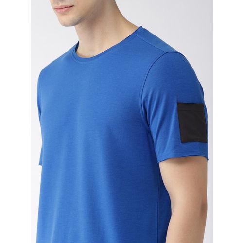 2GO Men Blue Solid Round Neck T-shirt