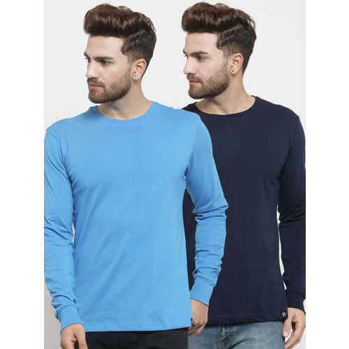Friskers Men Pack of 2 Solid T-shirts