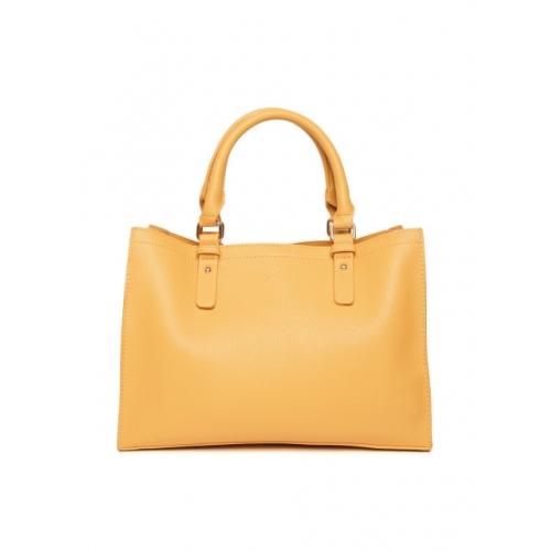 DressBerry Yellow Polyurethane Solid Handheld Bag
