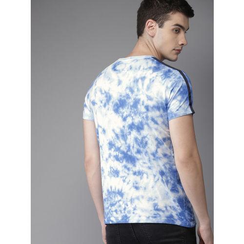 Moda Rapido Men Blue & White Dyed Round Neck T-shirt