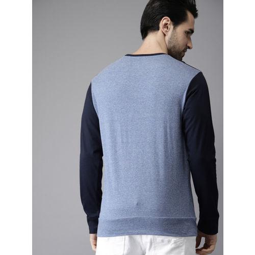 Campus Sutra Men Blue Solid Round Neck T-shirt