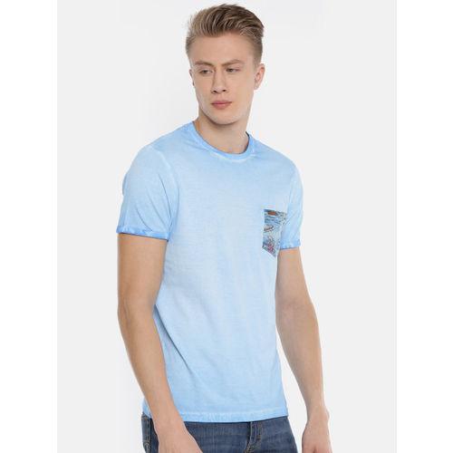 Steenbok Men Blue Solid Round Neck T-shirt