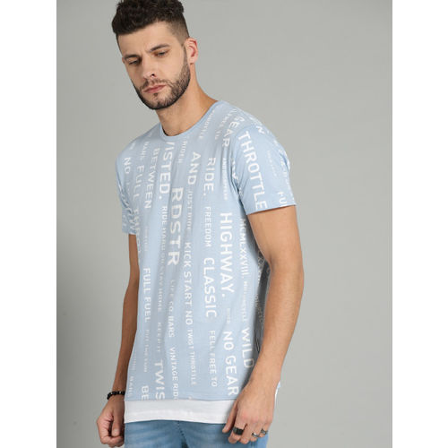 Roadster Blue & White Printed Round Neck T-shirt