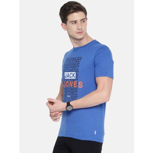 Jack & Jones Men Blue Printed Round Neck T-shirt