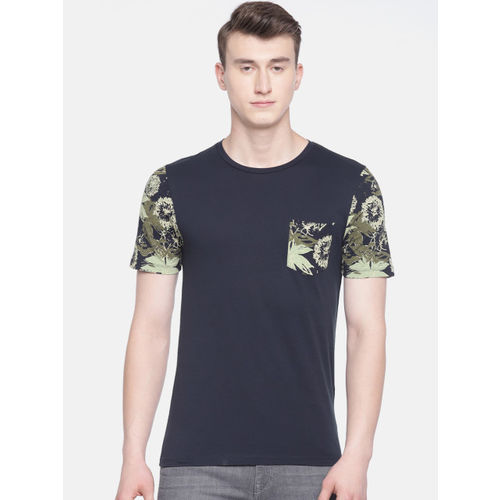 Jack & Jones Men Blue Printed Round Neck T-shirt