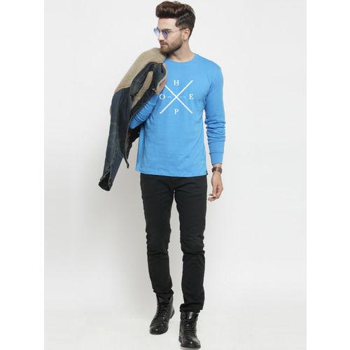 Friskers Men Blue Printed Round Neck T-shirt