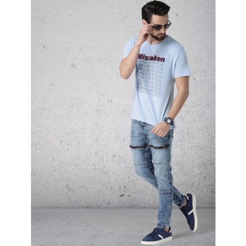 Ecko Unltd Men Blue Slim Fit Printed Round Neck T-shirt