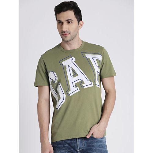 GAP Men Olive Green Printed Round Neck Logo T-shirt
