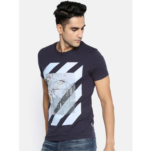 Jack & Jones Men Navy Blue Printed Slim Fit Round Neck T-shirt