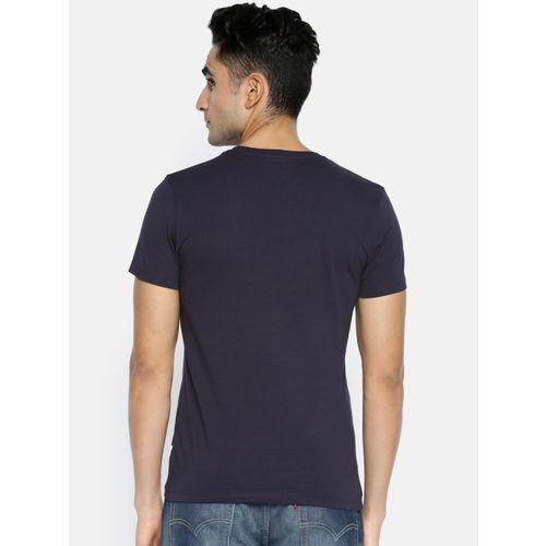 Jack & Jones Men Navy Blue Printed Slim Fit Round Neck T-shirt
