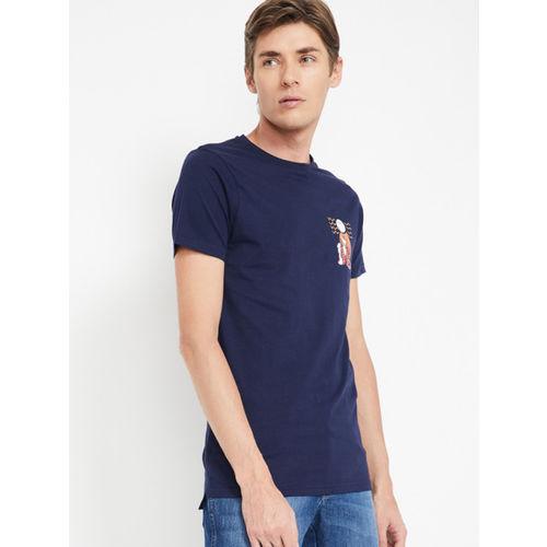 Smiley World Navy Blue Printed Round Neck T-shirt