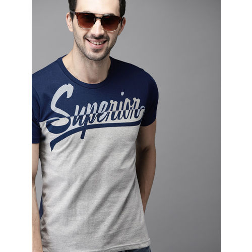 HERE&NOW Men Navy Blue & Grey Colourblocked Round Neck T-shirt