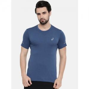 ASICS Men Navy Blue Solid Round Neck Seamless Running T-shirt