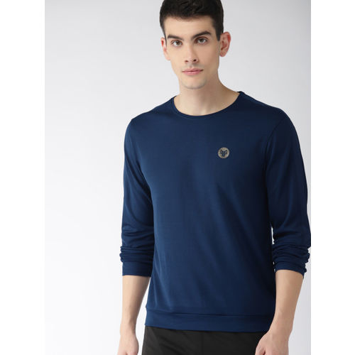 2GO Navy Blue Self Design Round Neck GO-DRY Anti-microbial T-shirt