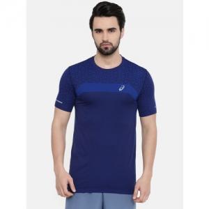 ASICS Men Navy Blue Printed Round Neck Seamless Ss Texture Running T-shirt