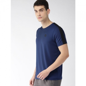 2GO Men Navy Blue Relaxed Fit Solid GO-DRY Tshirts