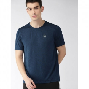 2GO Men Navy Blue Solid Round Neck GO-DRY Anti-microbial T-shirt