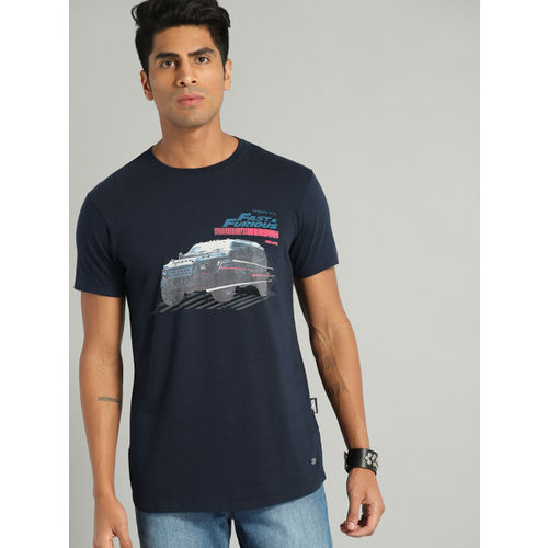 Roadster Fast and Furious Men Navy Blue Printed Round Neck T-shirt