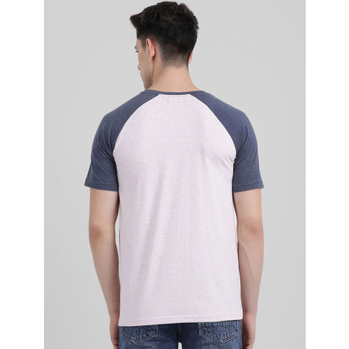 REALM Men Navy Blue & White Colourblocked Round Neck T-shirt