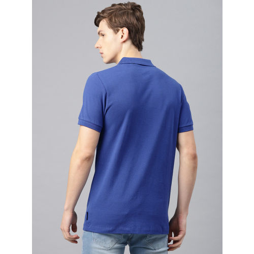 French Connection Men Blue Solid Polo Collar T-shirt
