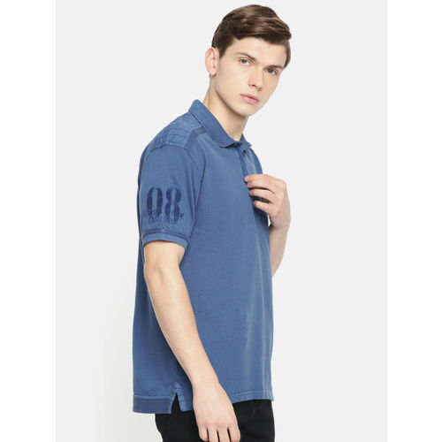 Lee Cooper Men Blue Solid Polo Collar T-shirt