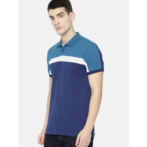 ether Men Blue Solid Polo Collar T-shirt