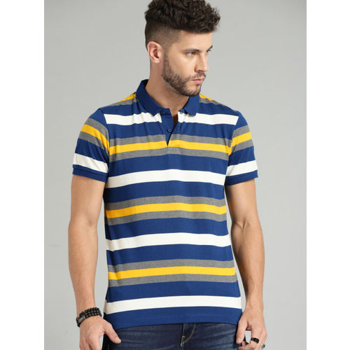Roadster Men Blue Striped Polo Collar T-shirt