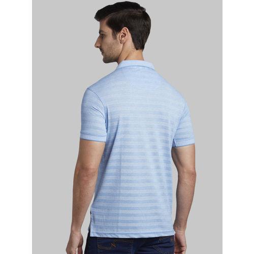 Parx Men Blue Striped Polo Collar T-shirt