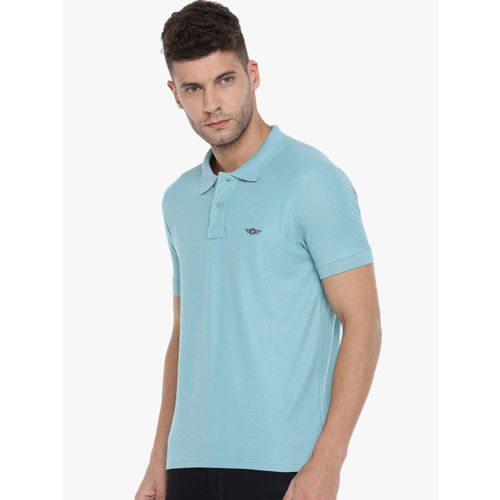 Force NXT Men Blue Solid Polo Collar T-shirt