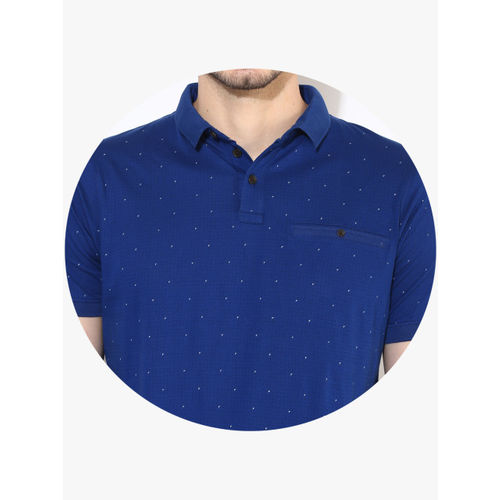 Proline Men Blue Printed Polo Collar T-shirt