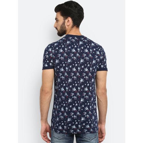 Mufti Men Navy Blue Printed Round Neck T-shirt