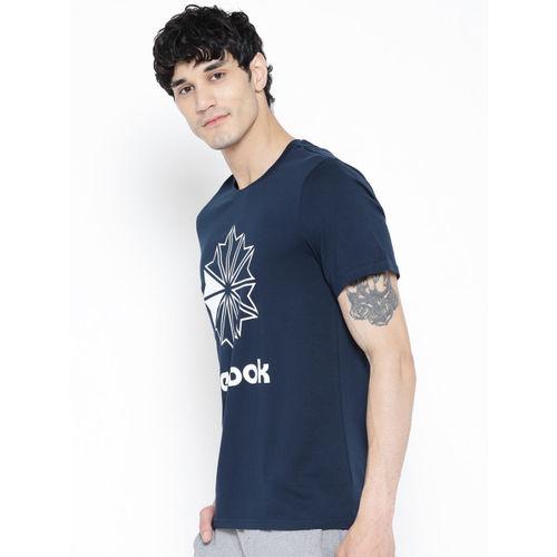 Reebok Classic Men Navy Blue Printed Big Logo T-shirt