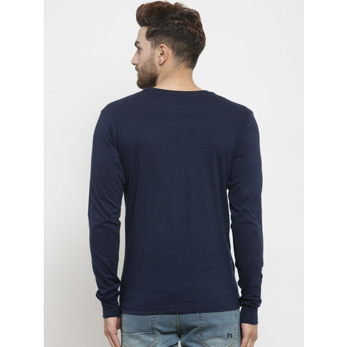 Friskers Men Navy Blue Printed Round Neck T-shirt