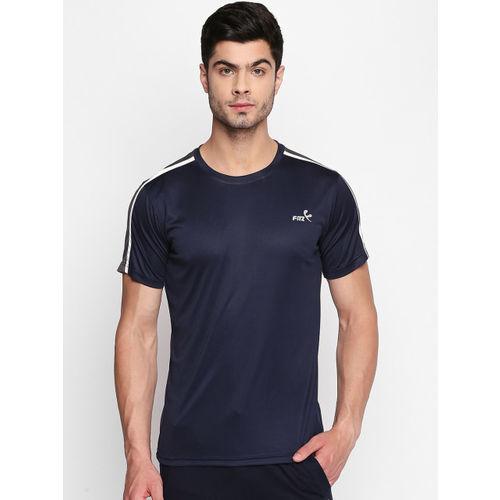 FiTZ Men Navy Blue & Grey Colourblocked Round Neck T-shirt