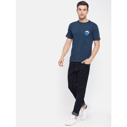 Wildcraft Men Blue Solid Round Neck T-shirt