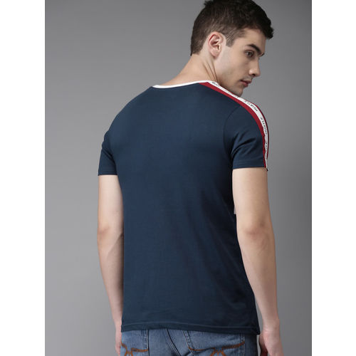 Moda Rapido Men Navy Blue & White Printed Round Neck T-shirt