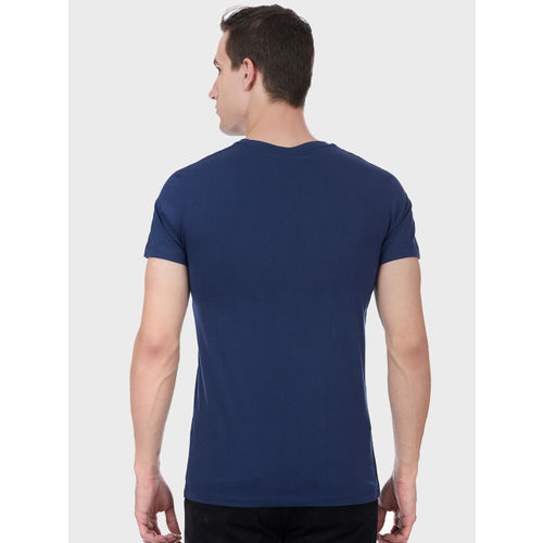 Batman Men Navy Blue Printed Round Neck T-shirt