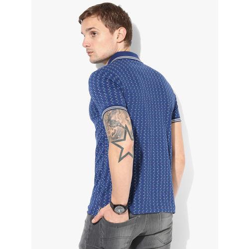 Proline Men Blue Printed Polo Collar T-shirt