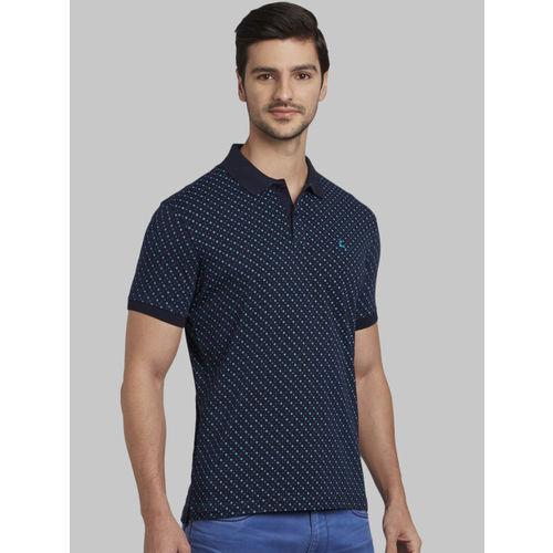 Parx Men Blue Printed Polo Collar T-shirt