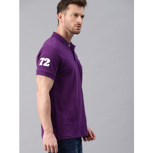 French Connection Men Purple Solid Slim Fit Polo Collar T-shirt