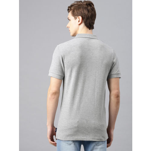 French Connection Men Grey Melange Solid Slim Fit Polo Collar T-shirt