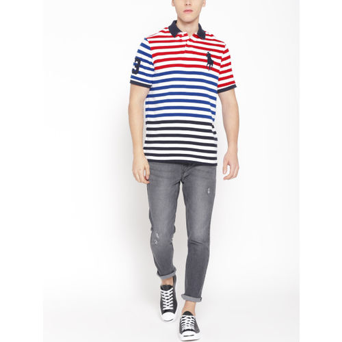 Polo Ralph Lauren Men White & Blue Striped Polo Collar T-shirt